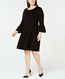 Jessica Howard Plus Size Embellished Bell-Sleeve Sweater Dress