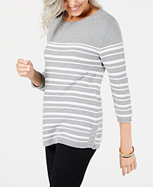 Karen Scott Petite Striped Cotton Sweater, Created for Macy's
