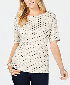 Karen Scott Cotton Polka-Dot Print Top, Created for Macy's