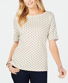 Karen Scott Cotton Polka-Dot Print Top, Created for Macy's