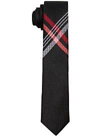 DKNY Big Boys Plaid Cross-Hatch Necktie