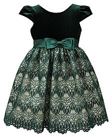 Jayne Copeland Little Girls Velvet Lace Dress