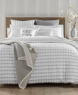 Seersucker Cotton 150-Thread Count 2-Pc. Twin Duvet Set, Created for Macy's