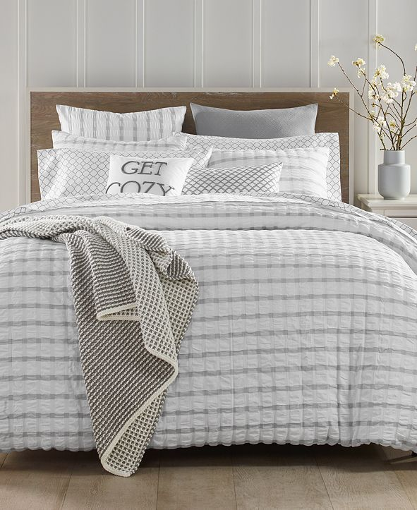 Charter Club Seersucker Cotton 150-Thread Count 2-Pc. Twin Duvet Set, Created for Macy's