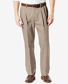 Men's Big & Tall Signature Lux Cotton Classic Fit Pleated Creased Stretch Khaki Pants