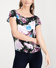 I.N.C. Floral-Print Cap-Sleeve Top, Created for Macy's