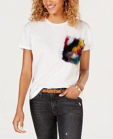 Say What? Juniors' Faux-Fur-Pocket T-Shirt