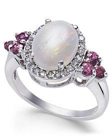 Multi-Gemstone (2-1/6 ct. t.w.) & Diamond (1/4 ct. t.w.) Ring in 14k White Gold