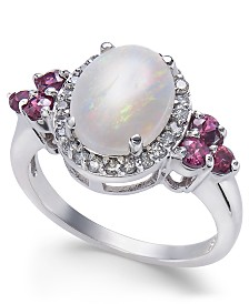 Multi-Gemstone (2-1/6 ct. t.w.) & Diamond (1/4 ct. t.w.) Ring in 14k White Gold
