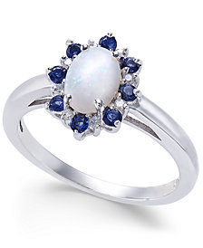 Multi-Gemstone (3/4 ct. t.w.) & Diamond Accent Ring in 14k White Gold