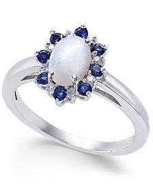 Multi-Gemstone (3/4 ct. t.w.) & Diamond Accent Ring in 14k White Gold