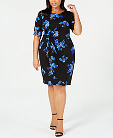 Connected Plus Size Ruched Floral-Print Dress