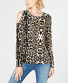 I.N.C. Printed Cold-Shoulder Sweater, Created for Macy's