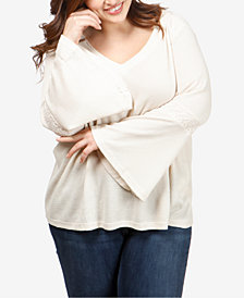Lucky Brand Trendy Plus Size Flare-Sleeve Thermal Top