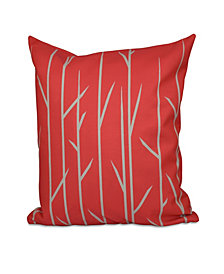16 Inch Coral Decorative Floral Throw Pillow