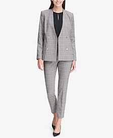 Calvin Klein Double-Breasted Blazer & Plaid Pants