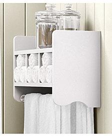 """25"""" Bath Storage Shelf With Towel Rod, White"""