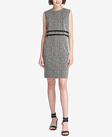 DKNY Fringe-Trim Tweed Sheath Dress, Created for Macy's