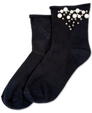 HUE Imitation-Pearl Roll-Top Socks in Black
