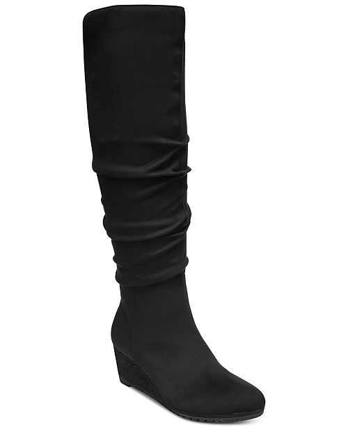 6a570cbe10df Dr. Scholl s Central Wide-Calf Wedge Boots   Reviews - Boots - Shoes ...