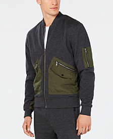 GUESS Men's Colorblocked Mix-Media Bomber Jacket