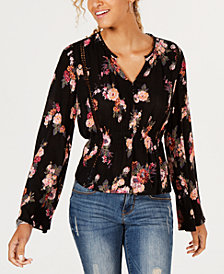 American Rag Juniors' Printed Cinched Top, Created for Macy's