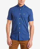 84a069ec3a4 Lacoste Men s Classic-Fit Mini-Check Poplin Shirt