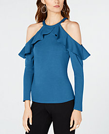 I.N.C. Ruffle-Detail Cold Shoulder Top, Created for Macy's