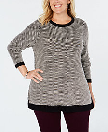 Charter Club Plus Size Graphic-Knit Tunic Top, Created for Macy's