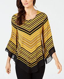 Alfani Petite V-Hem Angel-Sleeve Top, Created for Macy's