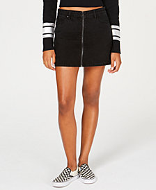 Vanilla Star Juniors' Full-Zip Cotton Mini Skirt
