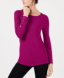 Alfani Petite Ribbed Snap-Detail Sweater, Created for Macy's
