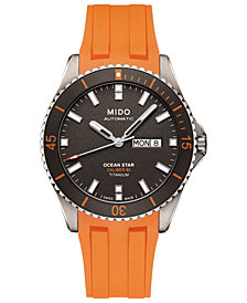Mido Men's Swiss Automatic Ocean Star Captain V Orange Rubber Strap Watch 42.5mm