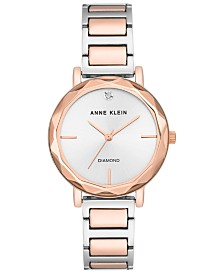 Anne Klein Women's Diamond-Accent Two-Tone Bracelet 32mm