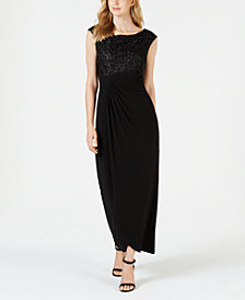 Connected Embellished Faux-Wrap Dress