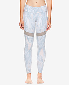 Gaiam X Jessica Biel Printed Mesh-Detail High-Rise Ankle Leggings