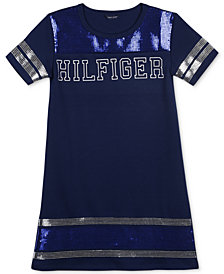 Tommy Hilfiger Big Girls Sequin-Trim Ponté-Knit Dress