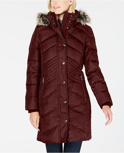 Petite Faux-Fur-Trim Hooded Down Puffer Coat