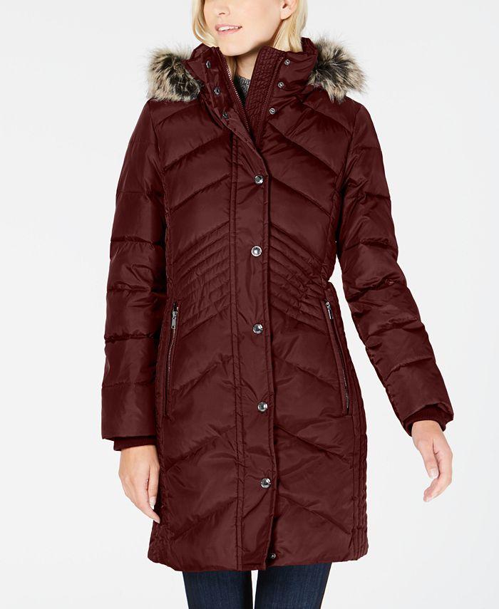 London Fog - Faux-Fur-Trim Hooded Down Puffer Coat