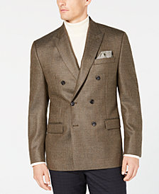Lauren Ralph Lauren Men's Classic/Regular Fit UltraFlex Tan Weave Double Breasted Wool Sport Coat