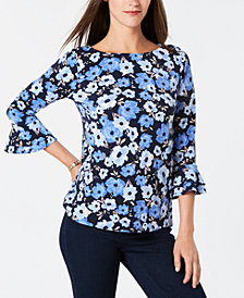 Charter Club Petite Ruffle-Sleeve Top, Created for Macy's