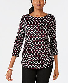 Charter Club Petite Printed Cotton Button-Shoulder Top, Created for Macy's