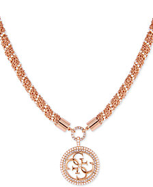 "GUESS Pavé & Imitation Pearl Logo Pendant Necklace, 14"" + 2"" extender"