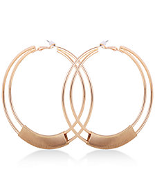"GUESS Gold-Tone Wire-Wrapped Double-Row 3 1/4"" Hoop Earrings"