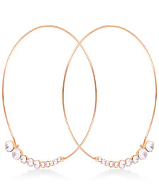 GUESS Gold-Tone Crystal Graduated Wire Hoop Earrings