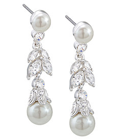 Carolee Earrings, Glass Pearl and Floral Linear Drop Earrings
