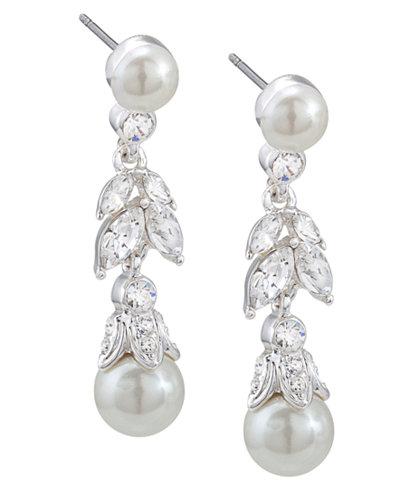Carolee Earrings, Glass Pearl and Floral Linear Drop Earrings