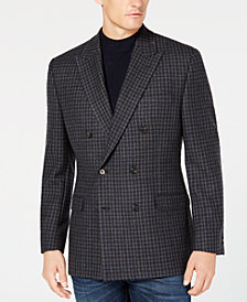 Lauren Ralph Lauren Men's Classic/Regular Fit UltraFlex Gray/Blue Check Double Breasted Wool Sport Coat