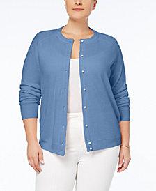Karen Scott Plus Size Luxsoft Crew-Neck Cardigan, Created for Macy's