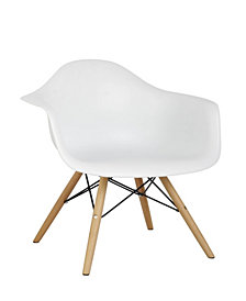 Arm Bucket Seat Studio Dining Chair in White